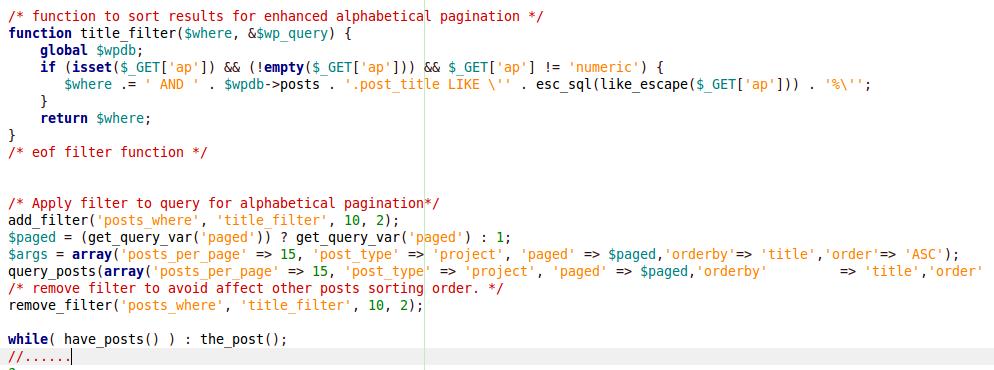 alpha pagination