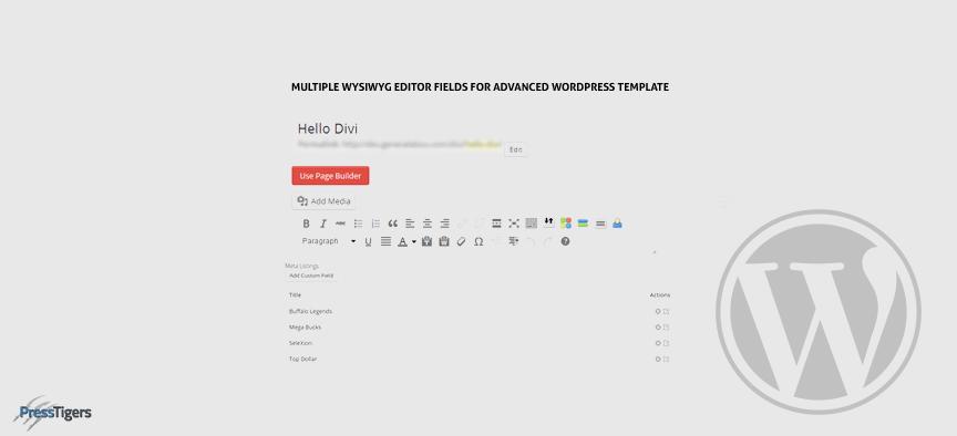 Multiple WYSIWYG Editor Fields For Advanced WordPress Template