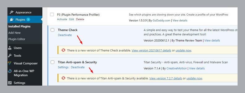 update your WordPress security plugins